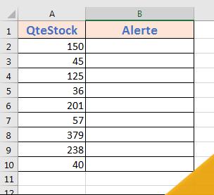 tableau Quantité de stock