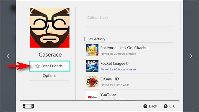 """حدد """"أفضل الأصدقاء"""" على Switch تحت اسم الصديق."""