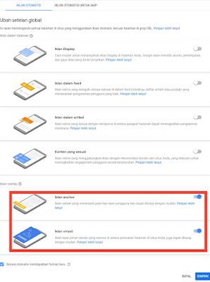 Iklan page level ads adalah iklan google adsense otomatis yang muncul di smartphone atau handphone Android saja