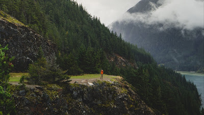 Wallpaper lonely man, nature, forest, hill, travel