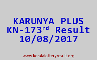 KARUNYA PLUS Lottery KN 173 Results 10-8-2017