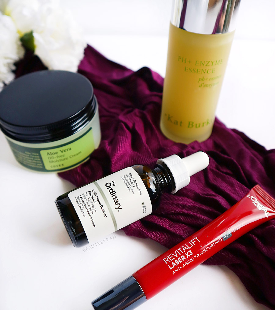 The Ordinary Squalane , CosRX Aloe Vera Cream and Loreal Revitalift Laser X3 Eye cream review