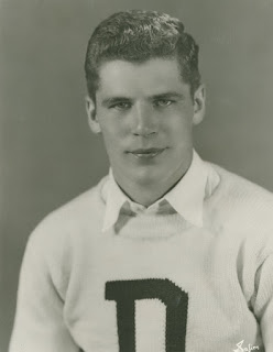 Charles Pearson wearing a Dartmouth letter sweater