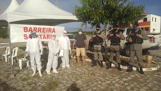 Em Baraúna, barreira sanitária é instalada na principal entrada da cidade