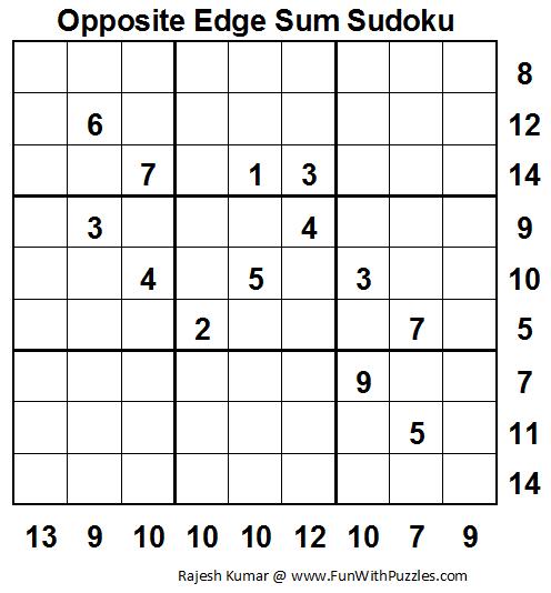 Opposite Edge Sum Sudoku (Fun With Sudoku #30)