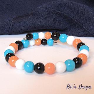 handmade memory wire bracelet teal and orange beads men's