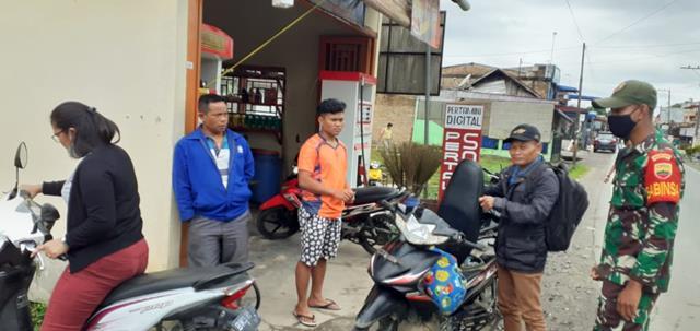 Razia Masker Dilaksanakan Personel Jajaran Kodim 0207/Simalungun Diwilayah Binaan