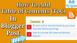 How To Add Table of Contents (ToC) In Blogger Post