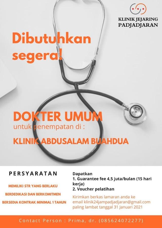Loker Dokter Klinik Jejaring Padjajaran Penempatan Klinik Abdusalam Buahdua Sumedang, Jawa Barat