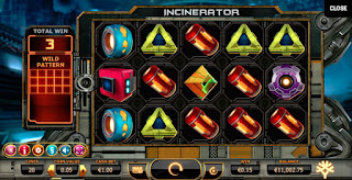 Incinerator slot game main screen