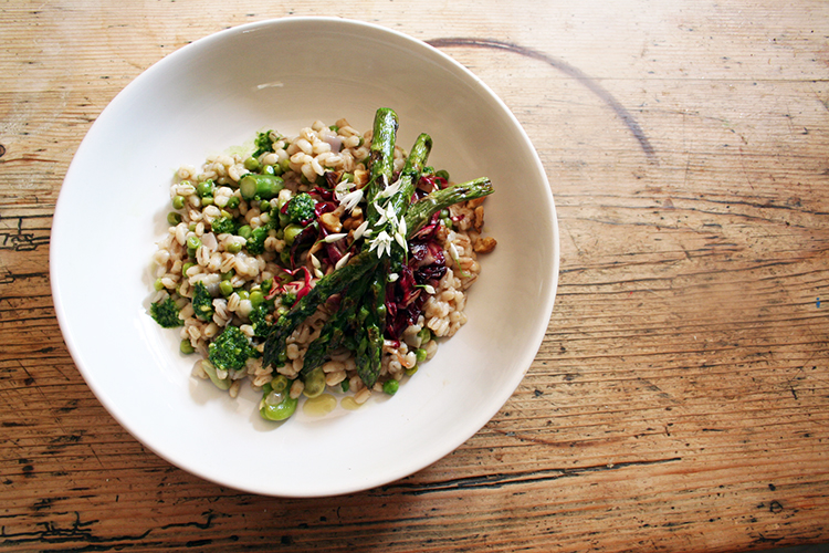 broad bean and pea risotto with grilled asparagus, wild garlic pesto and radicchio & toasted walnuts with balsamic, yuzu and honey dressing