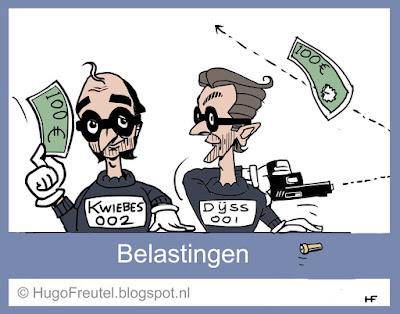 cartoon belasting loket met Dijsselbloem en Wiebes als boeven