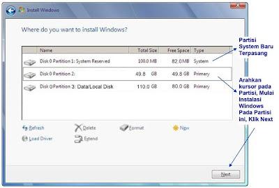 partisi baru windows 7
