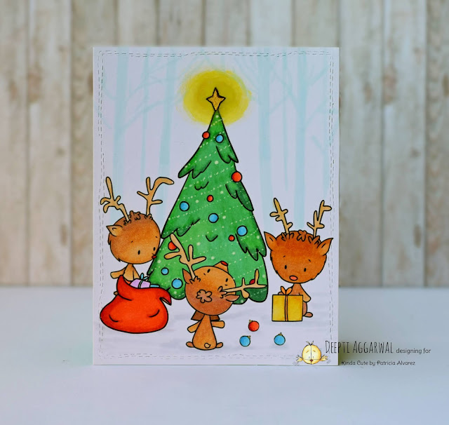 Christmas card using Reindeer digi from Kinda cute by Patricia