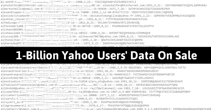 1-Billion Yahoo Users' Database Reportedly Sold For $300,000