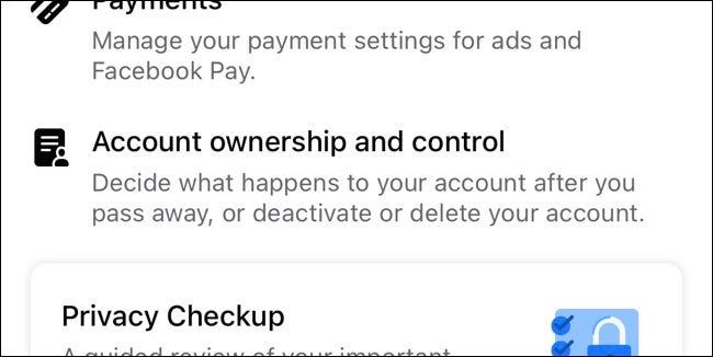 ملكية حساب Facebook وإعدادات التحكم