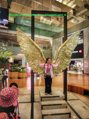 Sculpture, pair of golden wings, Departure Hall, T3, Changi Airport, Singapore