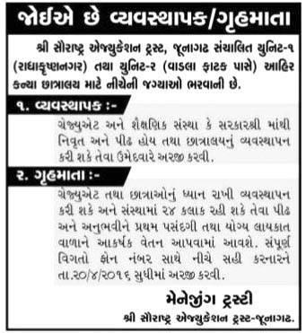 Saurashtra Education Trust, Junagadh Recruitment 2016