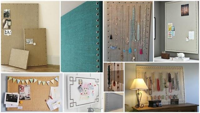 DIY Πίνακες Φελλού με Ύφασμα για Χαρτιά ή Κοσμήματα