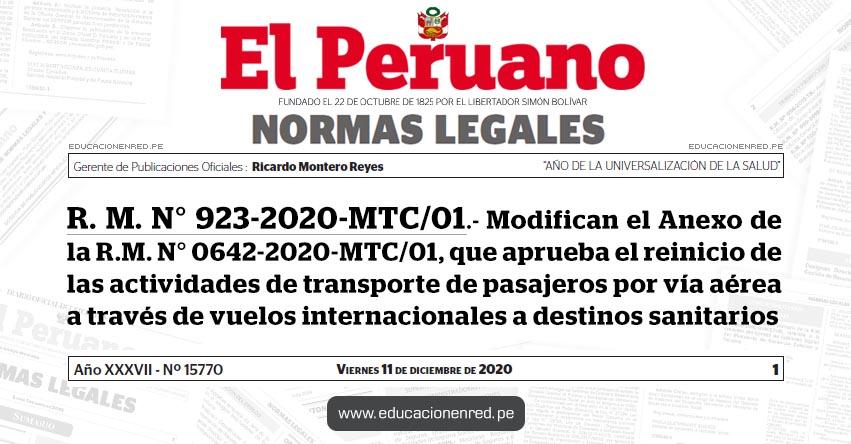 R. M. N° 923-2020-MTC/01.- Modifican el Anexo de la R.M. N° 0642-2020-MTC/01, que aprueba el reinicio de las actividades de transporte de pasajeros por vía aérea a través de vuelos internacionales a destinos sanitarios