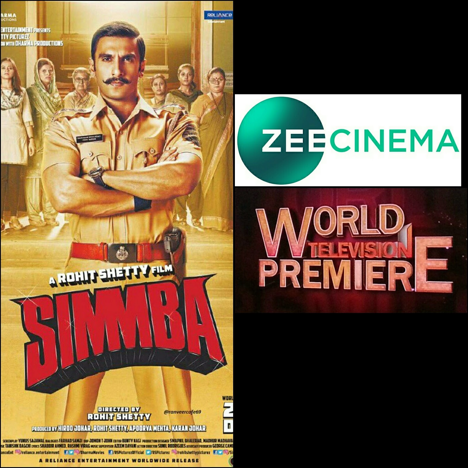 Simmba Tv Premiere Simmba On Tv World Tv Premiere Confirmed Date Bollywood Buff