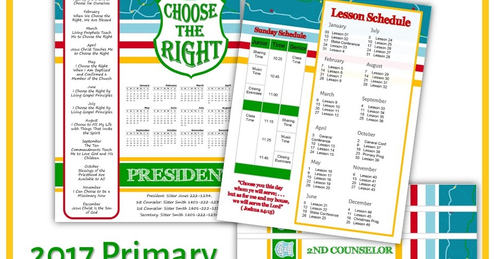 One Willis Family: 2017 LDS Primary Theme Bundle: Choose the right