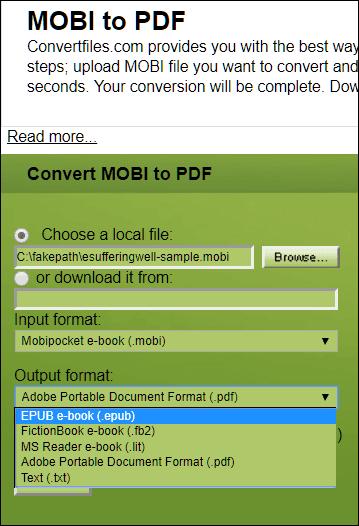 Convertire MOBI in PDF