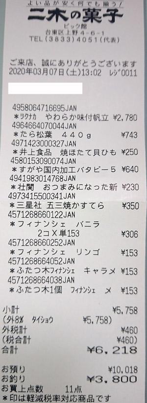 二木の菓子 ビック館 2020/3/7 のレシート