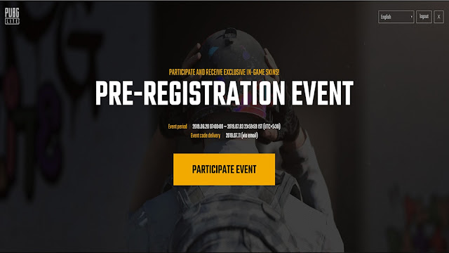 PUBG LITE PC Pre-Registration Event for India Release.