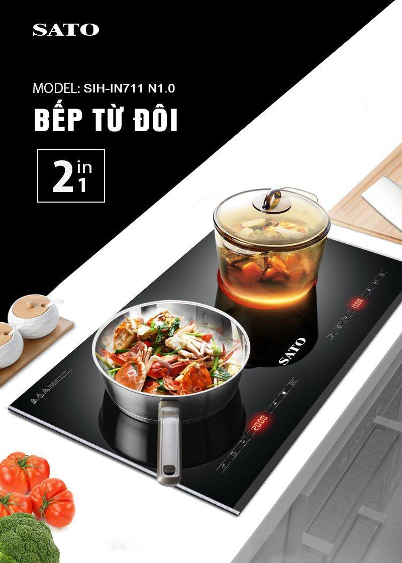 Bếp đôi điện từ hồng ngoại Sato SIH-IN711 N1.0 mua ở đâu giá rẻ nhất hiện  nay? - So sánh giá