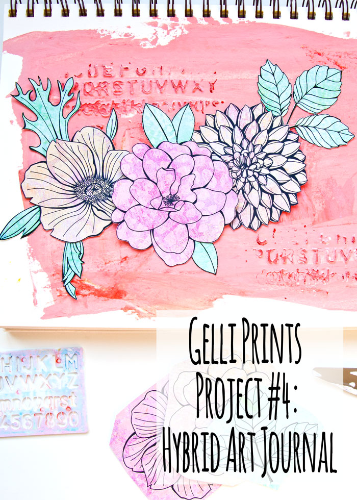 Digital Gelli Prints and Hybrid Art Journal Page with a film by Kim Dellow