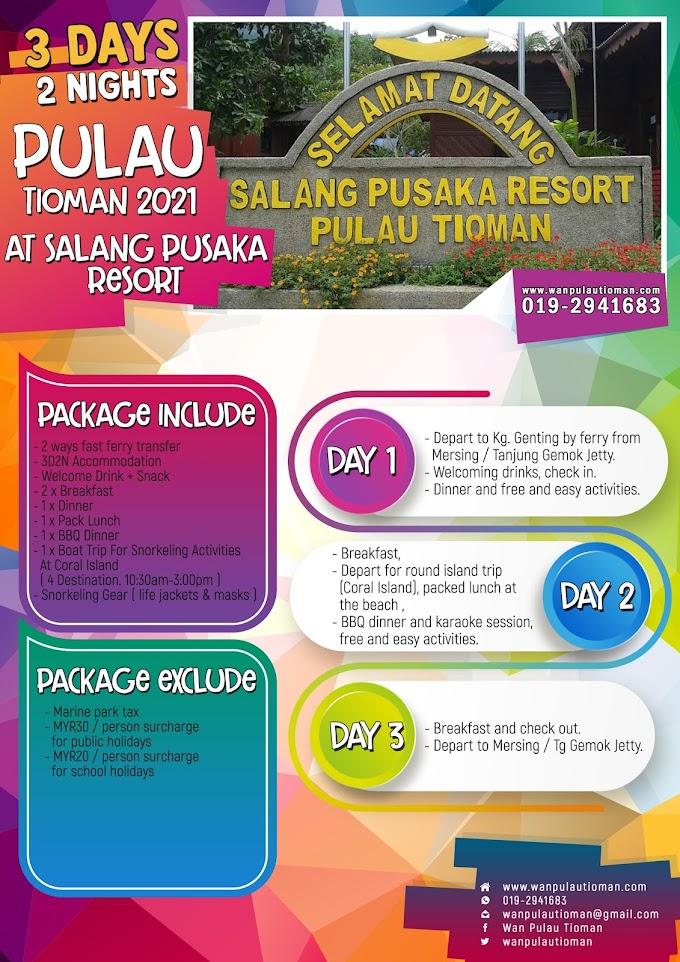 Pakej Percutian 3 Hari 2 Malam Ke Pulau Tioman 2021 - Salang Pusaka Resort ~ Pulau Tioman
