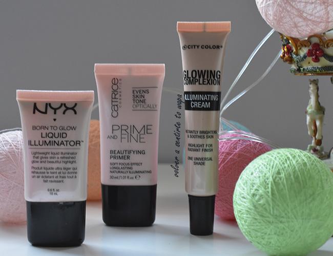 Prebases de rostro iluminadoras: Catrice - Nyx - City Color
