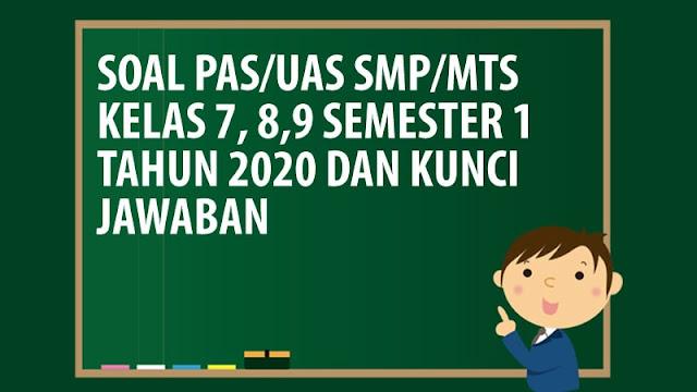 Kumpulan Soal UAS/PAS SMP/MTS Kelas 7 8 9 Semester 1 K13 Tahun 2020