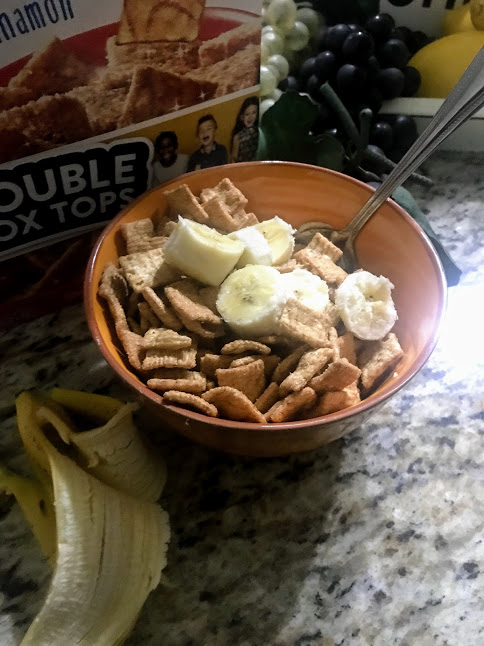 A bowl of cereal with bananas: morning babbles