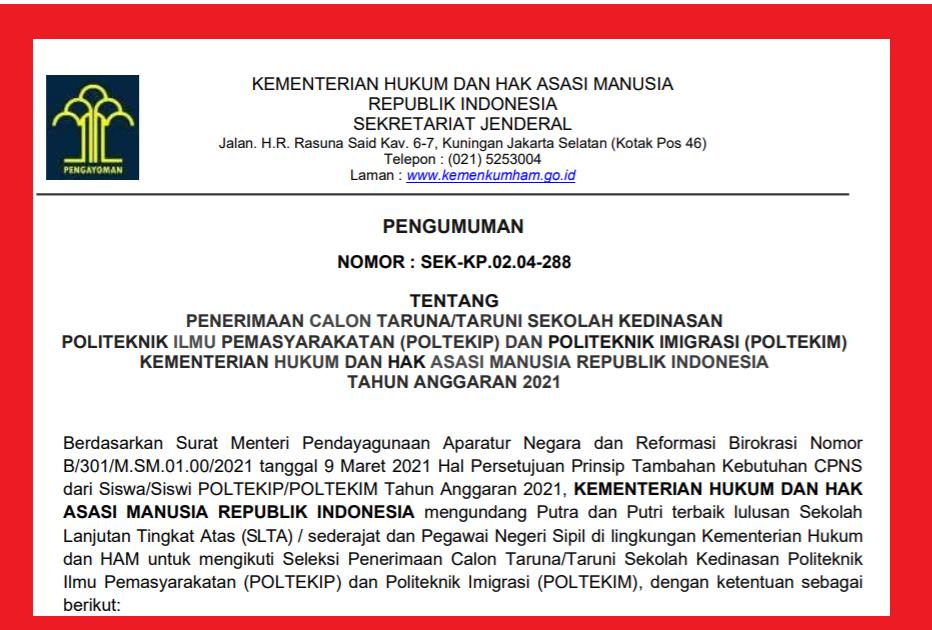 gambar penerimaan calon taruna sekolah kedinasan poltekip dan poltekim 2021