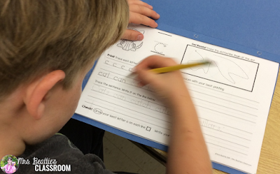 Photo of cursive writing activity.