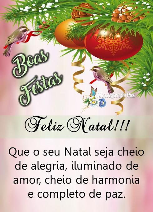 Que o seu Natal   seja cheio de alegria,   iluminado de amor,   cheio de harmonia  e completo de paz.  Feliz Natal!  Boas Festas!