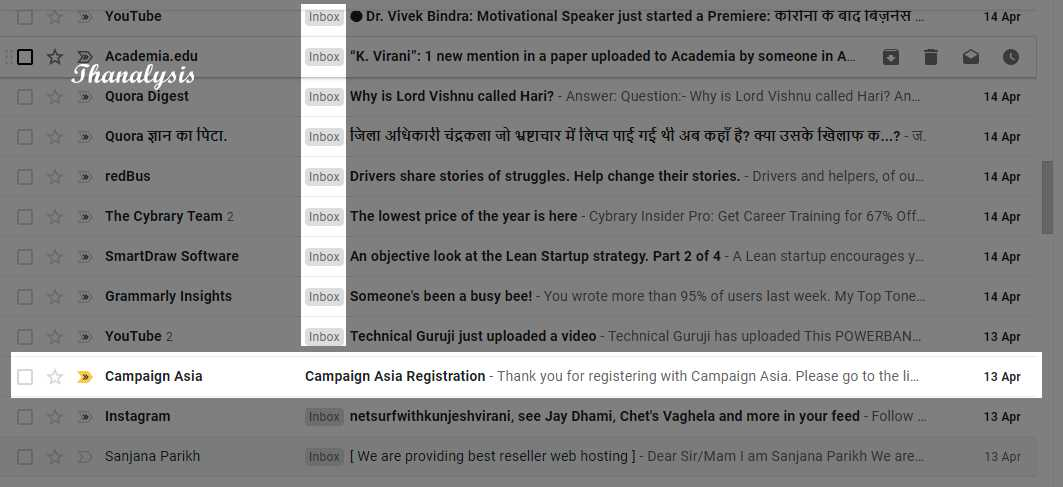 Labels and one email is highlighted.  That one email is nothing but an archived email. And it is without any kind label.