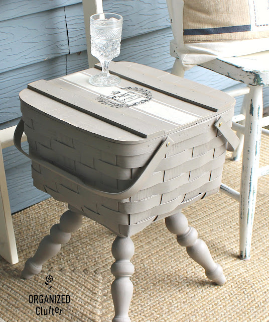 Photo of a pie basket upcycled & repurposed as a side table.