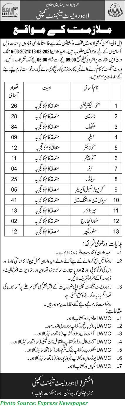 LWMC Jobs 2021 Latest 270+ Posts announced in Lahore Waste Management Company 2021