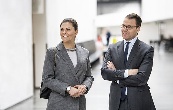Crown Princess Victoria wore ERDEM X H and M wool suit. Tiger of Sweden top