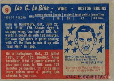 1957-58 Topps #9 - Leo LaBine