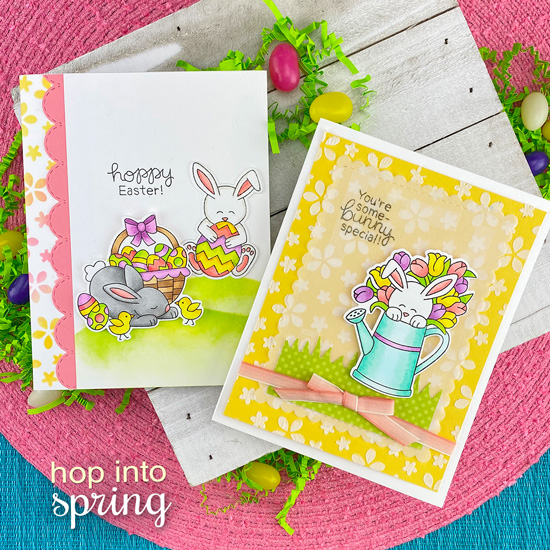 Spring and Easter Bunny Cards by Jennifer Jackson | Hop Into Spring Stamp Set by Newton's Nook Designs #newtonsnook #handmade