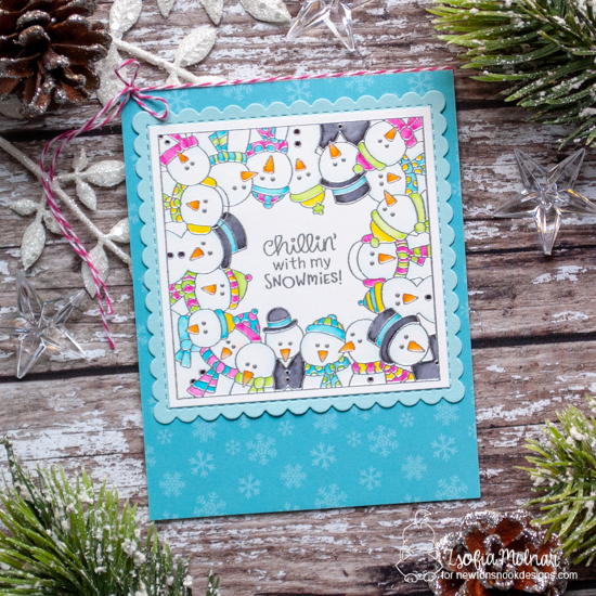 Snowman card by Zsofia Molnar | Snowman Party Stamp Set and Frames Squared Die Set by Newton's Nook Designs #newtonsnook #handmade