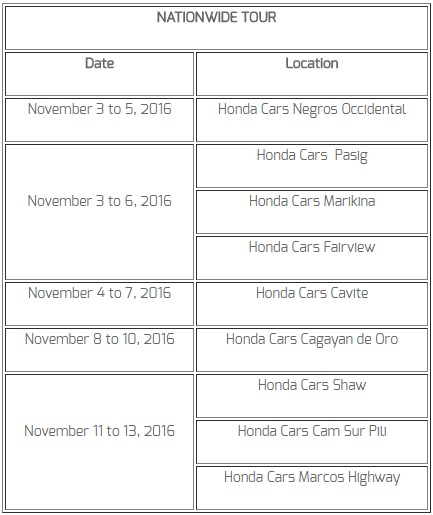 Honda BR-V Nationwide Tour