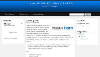 3 Col Blue Round Corners Blogger Template