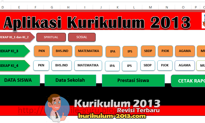 Download Aplikasi Raport SD Kurikulum 2013 Revisi 2016 Format Excel