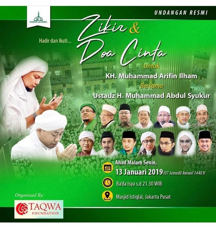 Doa Bersama untuk KH M Arifin Ilham Disusupi Politik? Ini Jawaban Tegas Alvin Faiz