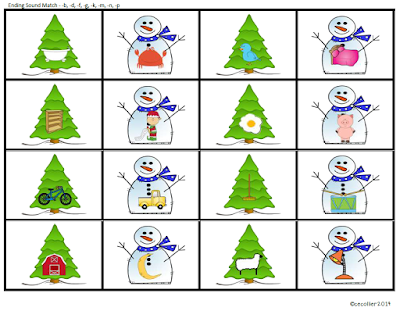 Match winter trees and snowmen that have the same ending sounds.
